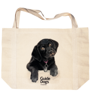 Bag with an illustration of a black puppy