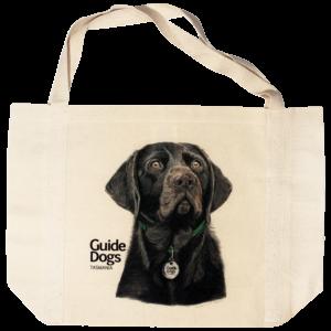 Bag with an illustration of a black dog