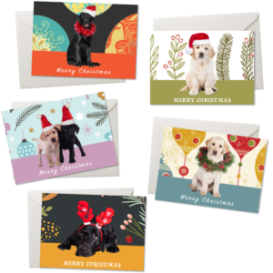 Christmas cards with five designs