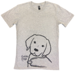 grey t shirt shirt with illustration of guide dog in training pup