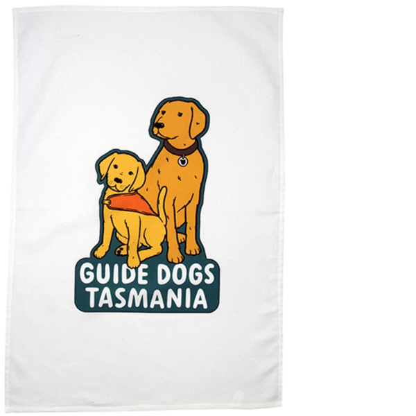 tea towel with image of puppy and dog