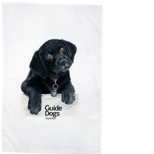 tea towel with illustration of a puppy
