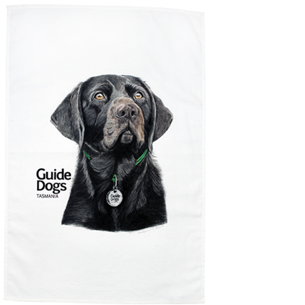 teal towel with an illustration of a dog