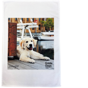 tea towel with a puppy