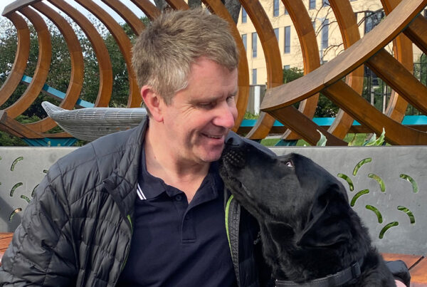 Handler Phil and his guide dog Yoda